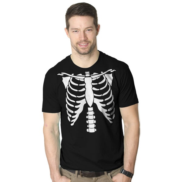 Men's White Skeleton Rib Cage Halloween Costume Black Cotton T-shirt