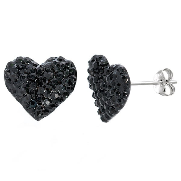 Pori 14k White Goldplated Crystal Heart Stud Earring