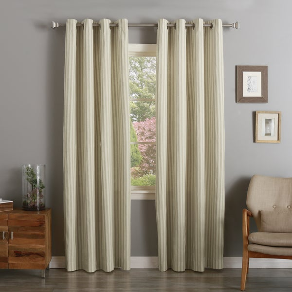Aurora Home Awning Stripe Cotton Linen Blend Grommet Top Curtain Panel Pair