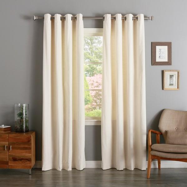 Aurora Home Vintage Cotton Velvet Grommet Top Curtain Panel Pair