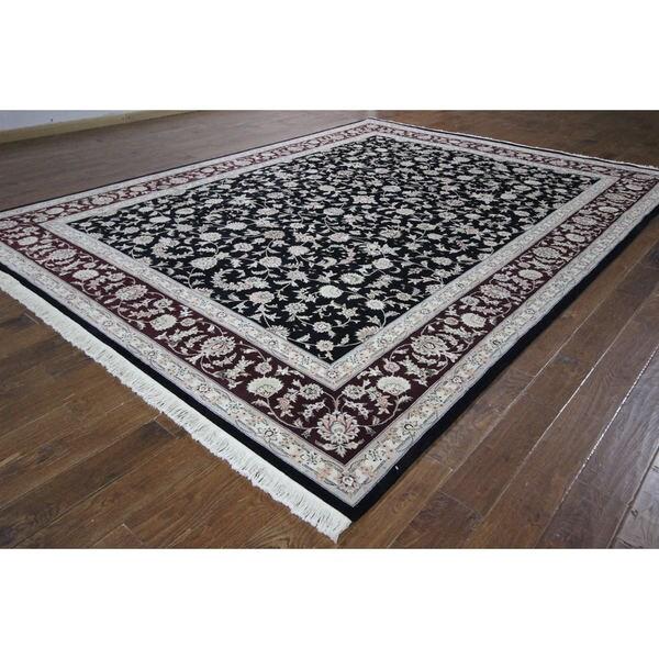 Herati Balck & Brugundy Tabriz Hand-knotted H8764 Wool & Silk Area Rug (9' x 12') 16778632
