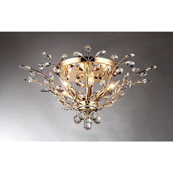 Ava Gold 27-inch 6-light Crystal Flush Mount