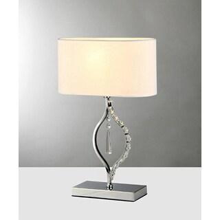 Rowena 1-light White 18-inch Chrome Table Lamp