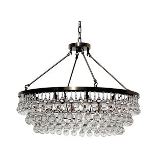 Celeste Antique Brass Glass Crystal Chandelier