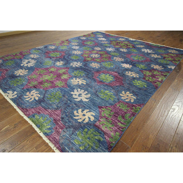 New Starfish in the Ocean Blue Overdyed Hand-knotted H8787 Wool Area Rug (9' x 12')