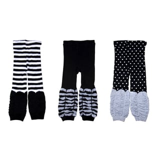 Crummy Bunny Black, Grey and White Kids Leggings (Set of 3)