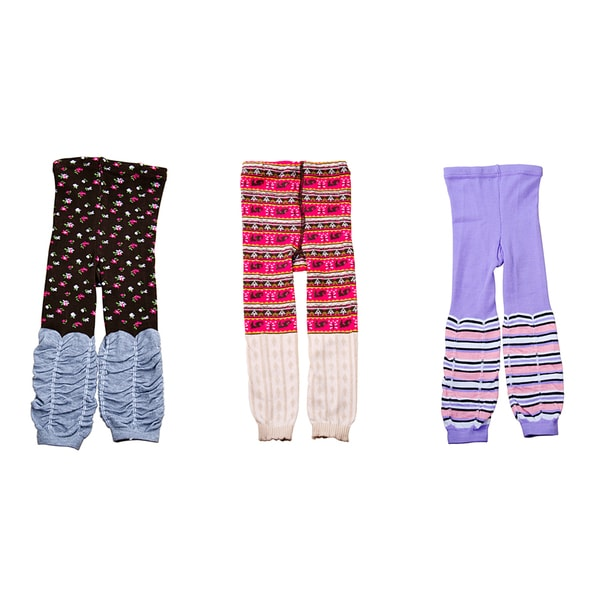 Crummy Bunny Girls Colorful Leggings (Set of 3)