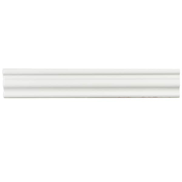SomerTile 2x12-inch Gloucester Bianco Ceramic Chair Rail Trim Wall Tile (Pack of 3)