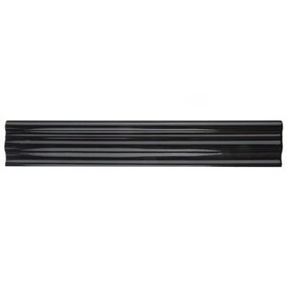 SomerTile 2x12-inch Gloucester Nero Ceramic Chair Rail Trim Wall Tile (Pack of 3)