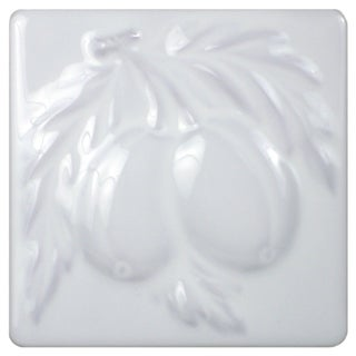 SomerTile 4x8-inch Betty Blanco Pear and Grape Ceramic Listello Trim Wall Tile (Pack of 10)