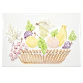 SomerTile 8x12-inch Betty Blanco Painted Fruit Mural Ceramic Décor Wall Tile (1 Each)