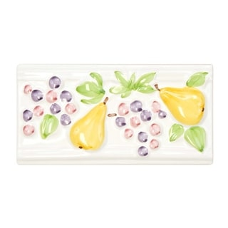 SomerTile 4x8-inch Betty Blanco Painted Pear and Grape Ceramic Listello Trim Wall Tile (Pack of 5)