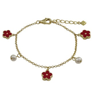 Gold Finish Sterling Silver Freshwater Pearls Red Enamel Flower Bracelet