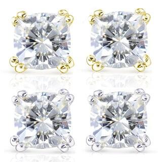Annello 14k Gold Forever One 4ct TGW Cushion Moissanite Stud Earrings
