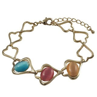 Gold Finish Oval Faux Cat Eye Stones Heart Bracelet