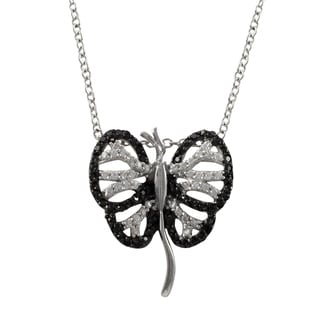 Sterling Silver Black and White Cubic Zirconia Butterfly Pendant Necklace