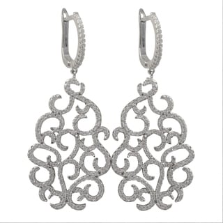 Luxiro Sterling Silver Cubic Zirconia Filigree Dangle Earrings