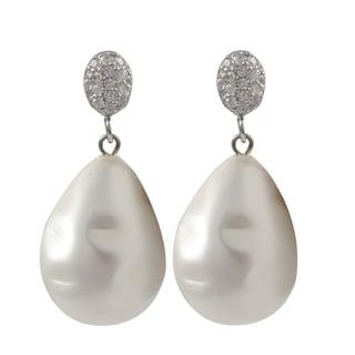 Luxiro Sterling Silver Baroque Shell Pearl Teardrop Dangle Earrings