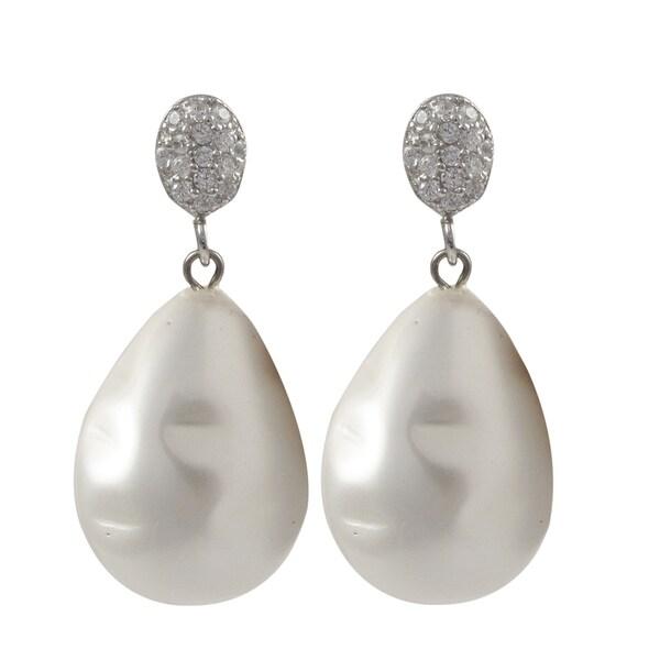 Sterling Silver Baroque Shell Pearl Teardrop Dangle Earrings