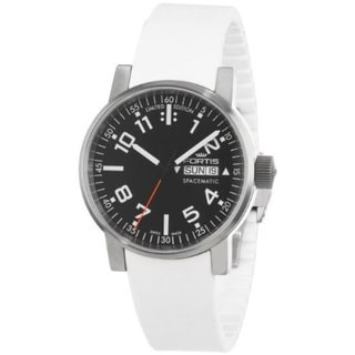 Fortis Men's 623.10.41 Si.02 Spacematic Swiss Automatic Luminous Day and Date White Silicone Strap Watch