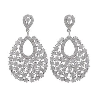 Sterling Silver Cubic Zirconia Cluster Teardrop Dangle Earrings