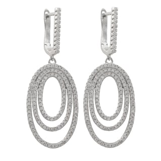 Luxiro Sterling Silver Pave Cubic Zirconia Concentric Oval Dangle Earrings