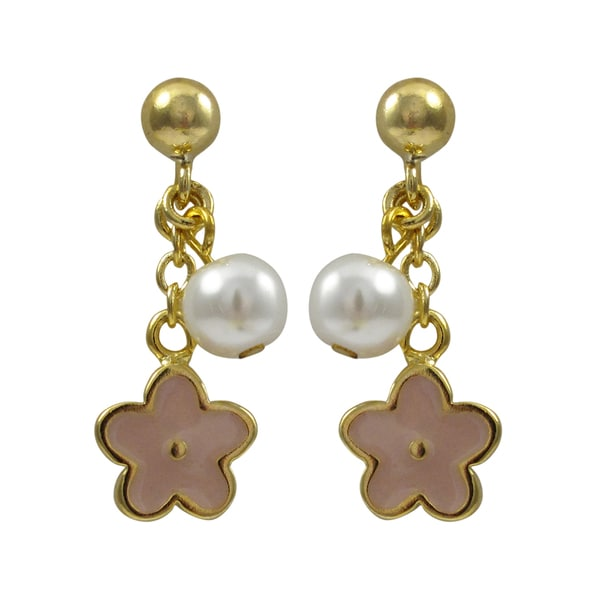 Luxiro Gold Finish Children's Faux Pearl Enamel Flower Dangle Earrings 16785175