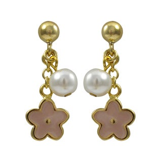 Gold Finish Children's Faux Pearl Enamel Flower Dangle Earrings