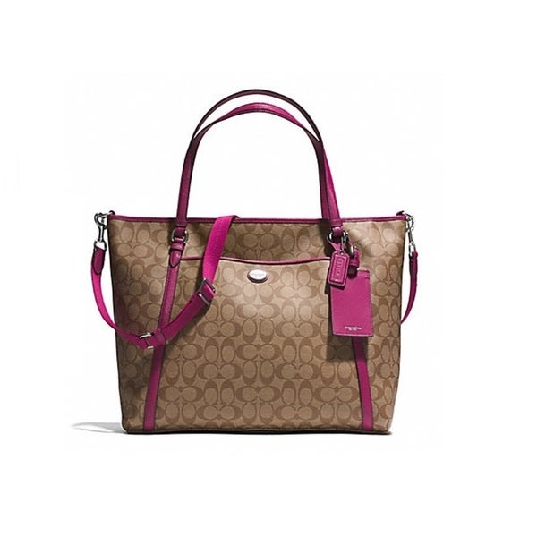 Coach Peyton Signature XL Pocket Tote with Saffiano Trim
