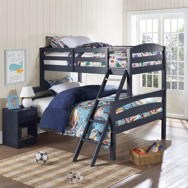 Dorel Living Brady Graphite Blue Twin over Full Bunkbed