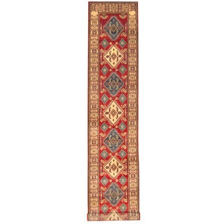 Herat Oriental Afghan Hand-knotted Tribal Kazak Red/ Ivory Wool Runner (2'7 x 14'1)