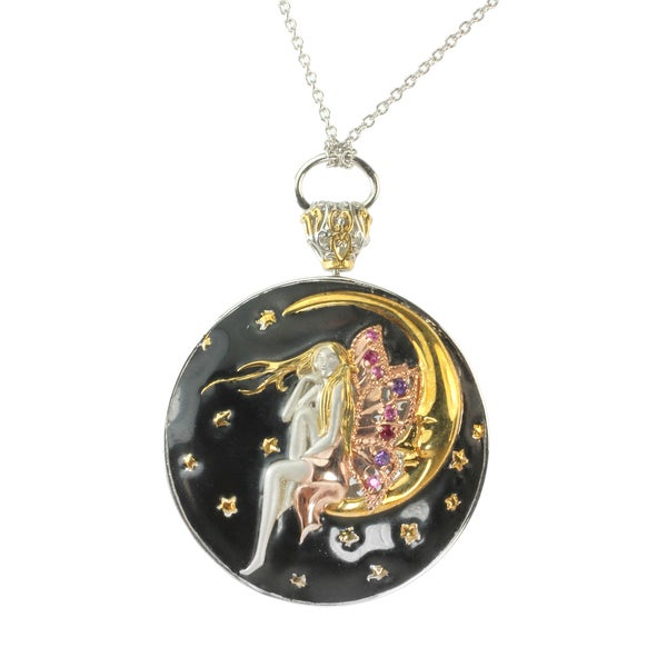 One-of-a-kind Micheal Valitutti Silver Enamel 'Fairy on the Moon' Pendant