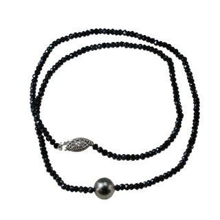 One-of-a-kind Micheal Valitutti Silver Black Spinel & Pearl Necklace