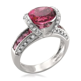 Montebello 18k Gold Pink Tourmaline and Diamond 5 3/4ct TGW Certified One-of-a-Kind Ring (H-I, VS2-SI1)