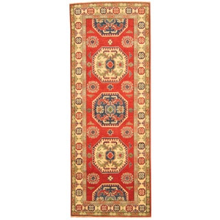 Herat Oriental Afghan Hand-knotted Tribal Kazak Red/ Ivory Wool Runner (2'8 x 7')