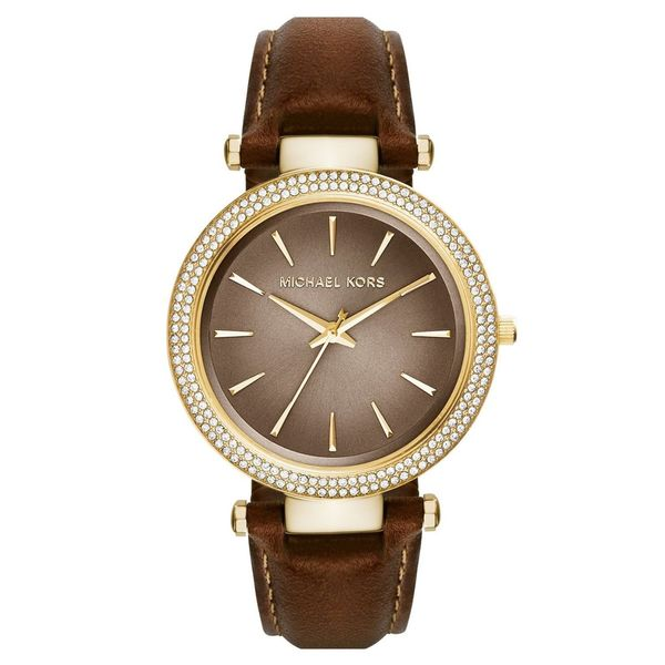 Michael Kors Women's MK2382 'Darci' Crystal Brown Leather Watch