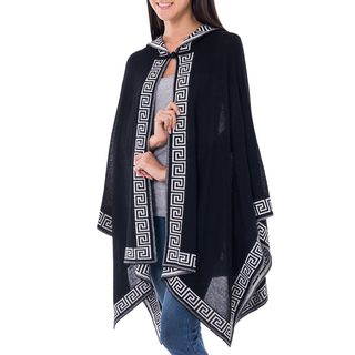 Handcrafted 100% Alpaca Wool Warm and Soft Inca Black with White Geometric Border Open Front Hooded Womens Ruana (Peru)
