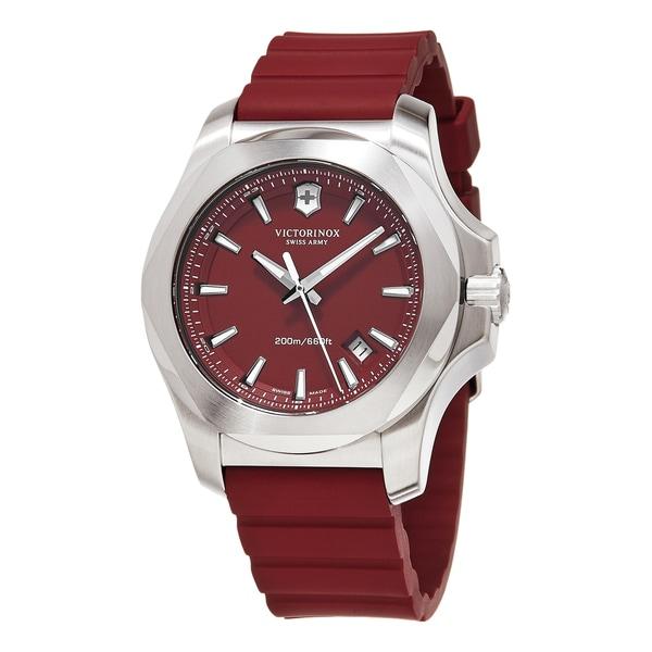 Swiss Army Men's 241719.1 'Inox' Red Dial Red Rubber Strap Swiss Quartz Watch