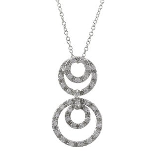 Sterling Silver Cubic Zirconia Open Circles Pendant Necklace