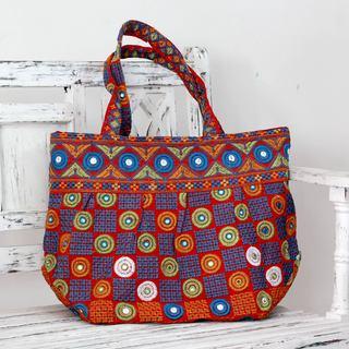 Cotton 'Gujarati Fanfare' Embroidered Shoulder Bag (India)