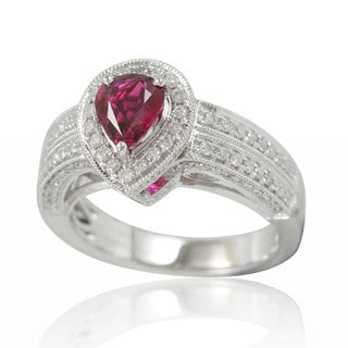 Suzy Levian 14K White Gold 1.79TCW Ruby and Diamond Ring
