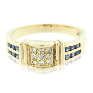 Suzy Levian Vintage 14K Gold Diamond and Sapphire Ring