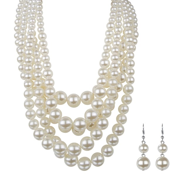 Brass Chunky Multi-Layered Pearl Necklace Set