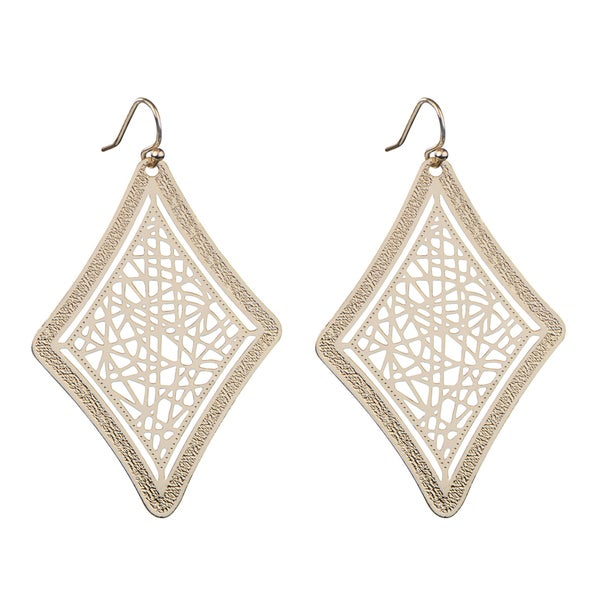 Brass Gold Diamond Cut out Earrings