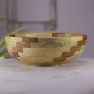 Handcrafted Wood 'Natural Spiral' Bowl (Guatemala)