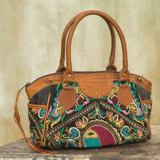 Leather Accent Cotton 'Hill Tribe Bees' Baguette Handbag (Thailand)