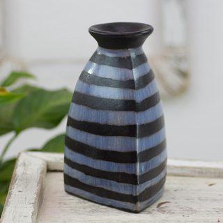 Handcrafted Ceramic 'Ocean Triangle' Vase (Honduras)