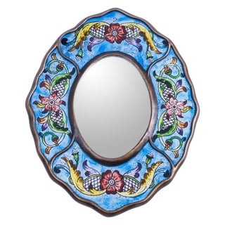 Handcrafted Reverse Painted Glass 'Blue Colonial Wreath' Mirror (Peru)