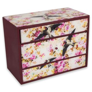 Handcrafted Decoupage 'Swallows in Flight' Box (Mexico)