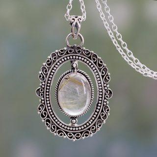 Sterling Silver 'Venus Hair' Rutile Quartz Necklace (India)